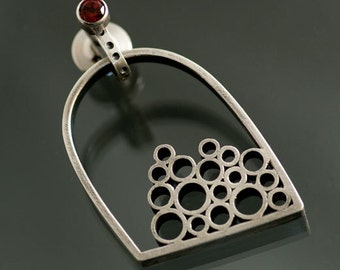 Caught Bubbles in Sterling Silver Brooch or Pendant with a Garnet Pin Stem, One of a Kind, Ready to Ship