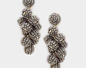 Beaded ball earrings, cluster, hematite, dangles, handmade gift idea, Christmas gift.