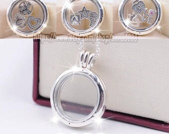 2016 Fall 925 Sterling Silver Medium Floating Locket With Sapphire Crystal Glass Pendant (Include chain 60CM ) It's how you frame your day
