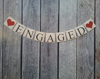 Engaged signs, engagement banner, bachelorette banner, bridal shower banner, engagement photo prop, engagement party decorations