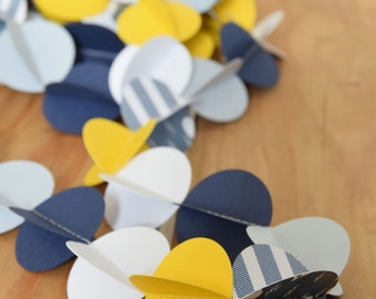 """Garland of paper """"Whale"""" blue and yellow - Blue and yellow whale paper garland"""