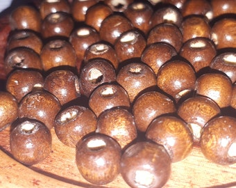 set of 50 7 mm Brown wooden beads