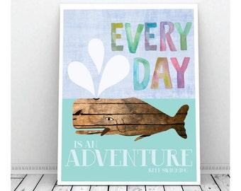 Whale Art, Whale Art Nursery, Whale Art Print, Digital Print, Wooden Whale Art, Whale Print, Wall Decor, Instant Download, Watercolor