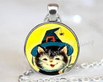HALLOWEEN Pendant Necklace, Black Cat Witch Pendant Necklace, Pumpkin Necklace, Cat Witch, Vintage Retro Halloween