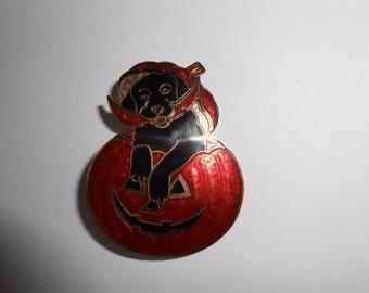 Vintage Halloween Dog Pumpkin Jack O Lantern Brooch Pin