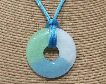Pastel Fused Glass Pendant, Baby Blue, Mint Green, and White Necklace, Fused Glass Jewelry  - Yolanda - 4730 -4