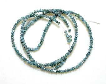 Blue Diamonds - Raw Uncut Diamond Beads - 2mm To 3mm - 16 Inch Full Strand