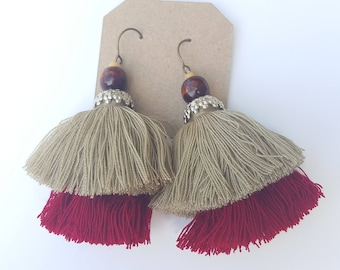 Red & Brown Two-layer Earrings