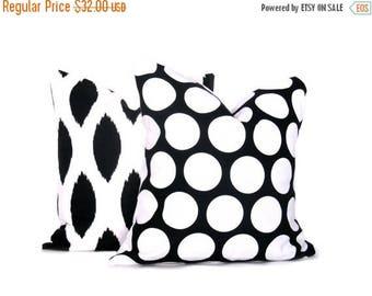 15% Off Sale BLACK PILLOW, Decorative Pillow Covers, Polka Dots, Ikat Pillow , Accent Pillow, Pillow Throw Pillow Cover Pillows  Housewares
