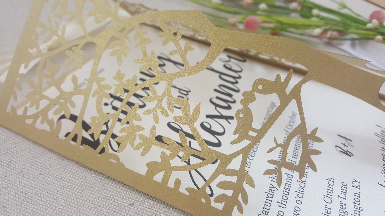 Love Tree Wedding Invitation Set - gold,ivory,lovebird,laser cut ...