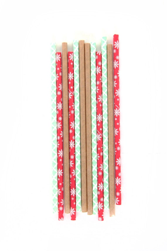 Vintage Christmas Straws, Red Stripe Straw, Snowflake Straw, Mint Straw, Rustic, Christmas Buffet, Holiday Happy Hour Winter Decor Green