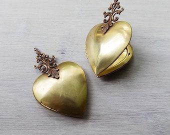 Ex voto, ex voto heart, heart locket, hand soldered locket, ready for embellishment, brass heart locket, milagro heart, sacred heart locket