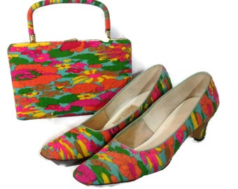 Vintage Retro Vibrant Floral Town and County Shoes and Purse