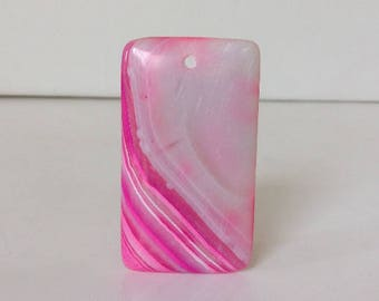 Bright Pink Gemstone Pendant. Rectangular Focal Bead. Bright Pink Stripey Pendant. Rectangular pendant