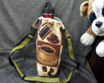 Water Bottle Holder for Hikers, Coffee Cups Brown Print