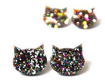Glitter Cat Studs · Cat Earrings · Rainbow Glitter Cat Earrings · Glitter Cat Earring · 2 sizes