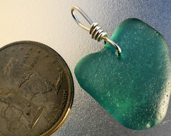 Sterling Silver Teal Heart Shaped Sea Glass Pendant