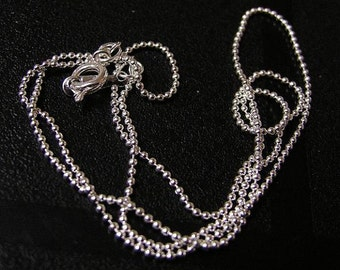 4 of 17 inches 1mm Silver Finish Handmade Brass Ball Chain Necklaces-1618