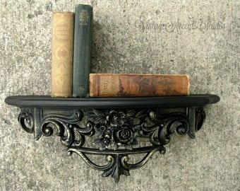 Vintage Black Ornate Shelf by Dart | 60's Syroco Type | Hollywood Regency | Shabby French Accent | Wall Decor