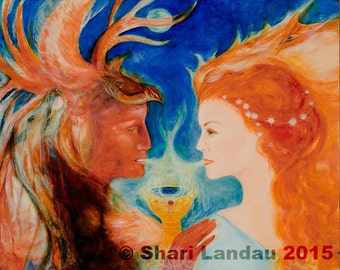 Art Print: Sacred Union-Healing Art-Visionary Art- Sacred-Holy Grail-Chalice- Soulmates-Twin Flames- wedding- Shari Landau- SacredArtbyShari