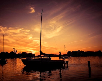 Paradise, Sailboat Decor, Sailboat Art, Nautical Art, Sunset Photography, Aquatic, Marine, Bathroom Decor, Large Wall Art Print