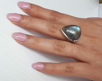 Labradorite ring; size 6, heart, teardrop shape, set in 92.5 sterling silver, free shipping, resizing below in item details