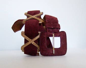 Burgundy Belt 90s Leather Belt Women Vintage Belt Suede Belt Statement Belt Danier Leather - Extra Small to Small XS S