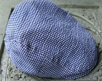 Kids Boys Newsboy Cap ,US,2y-7y  ,hat, children,wedding, cotton, Ring bearer,Beach hat, soft hat, Blue white plaid