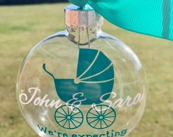 We're Expecting Baby Carriage Ornament - Girl or Boy