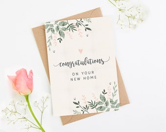 New Home Card Botanical Blush