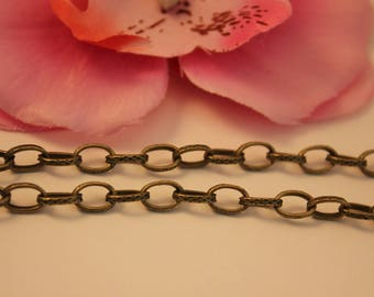 5 meters of hammered Bronze 8x5.5 mm - SC13978 - link chain