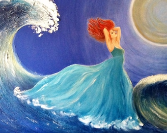"""ROMANCING THE WAVES, original painting, acrylic on canvas, 48""""x30"""", beautiful woman, nymph, ocean, moon, fantasy, surreal"""