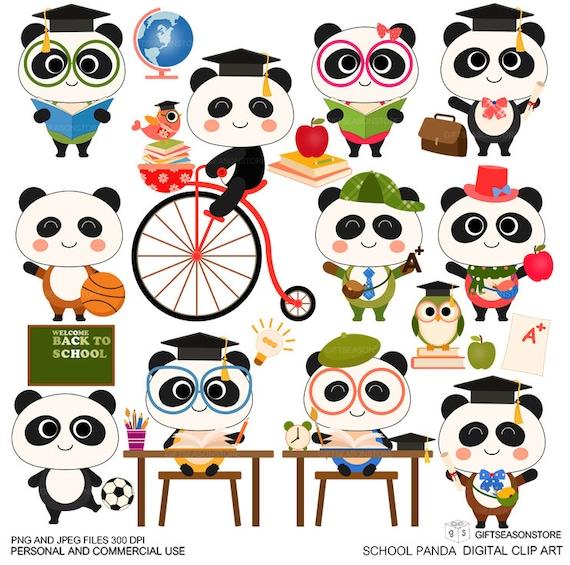 school panda digital clip art for personal and commercial use rh etsystudio com clipart panda school bus school clipart panda