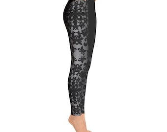 Black and Silver Design Leggings