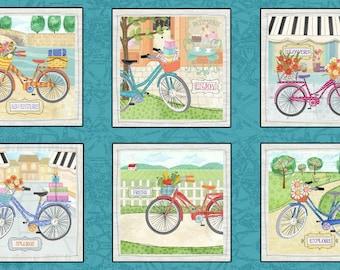 Henry Glass Enjoy The Journey Multi Bike Blocks Panel Fabric - 1 panel