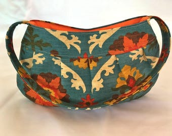 handmade bag, pleated cotton handbag, tote, shoulder bag, handbag, mothers day gift