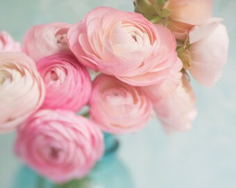 Ranunculus Photography -  Romantic Pink Flowers, Floral Photograph, Shabby Wall Decor