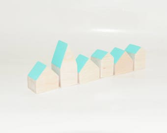 Miniature wooden houses. Set of 6 pieces. The small village for home decor. Mint roof
