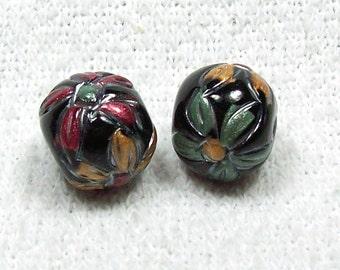 NOW ON SALE Handmade Polymer Clay Beads - Gloss Black with Flowers