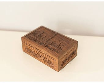 Vintage Wooden Jewelry Box | Hand Carved Wooden Jewelry Box