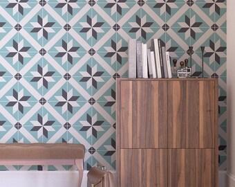 French Tiles - Wall Tiles - Floor Tiles - Tile Decals - Flooring - Tile Stickers - Vinyl floor - bathroom- kitchen- PACK 24 - SKU:FRTL
