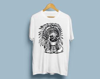 Funny Pug Shirt Dog Shirt Indian Shirt Pug Gift Pug Lover Gift For Dog Owner Dog Lover Shirt Boho Shirt Country Shirt Graphic Tee TU11156