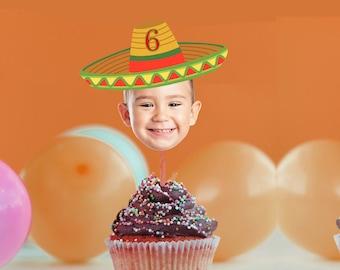 Sombrero Hat Fiesta Photo Cupcake Toppers, Birthday Fiesta Decor Cupcake Toppers, Fiesta Party Decor, Cake Toppers Printable, Mexican Party