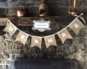 Mr and Mrs Embroidered Burlap Bunting