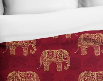 Henna Elephants, Indian Pattern, Duvet Cover, Printed in USA