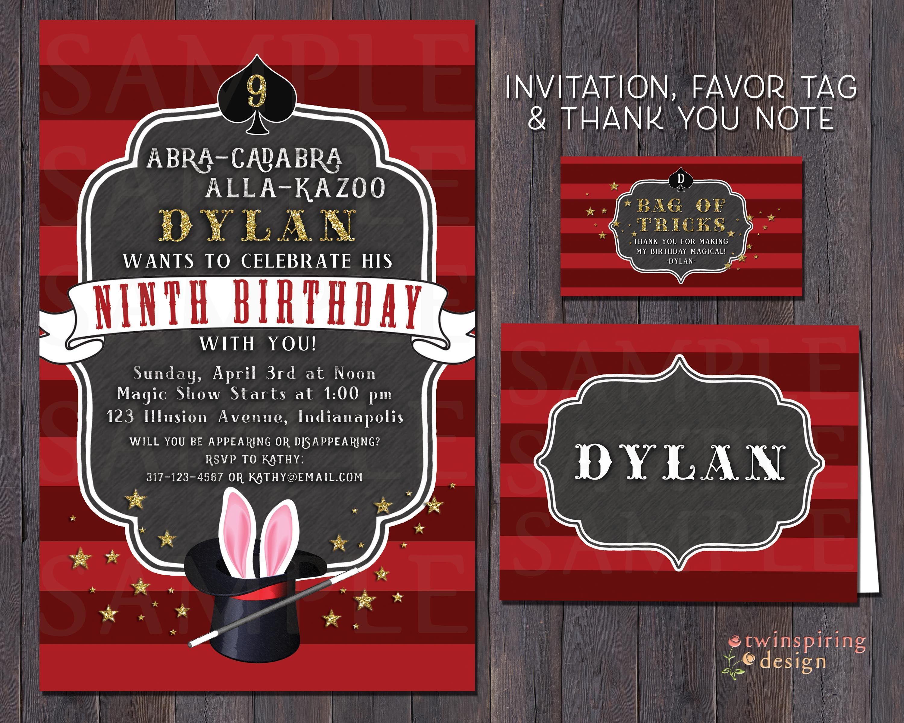 Magic Birthday Invitations Thank You Notes and/or Favor Tags