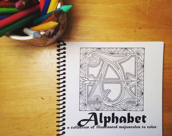 ALPHABET – a collection of illuminated majuscules to color
