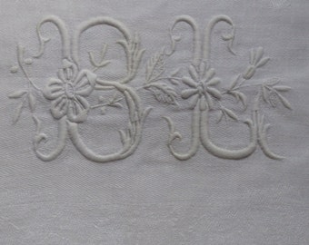 Six French Damask Vintage Table Napkins, European size,hand embroidery
