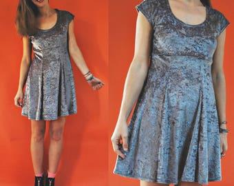 1980s Silver Grey Crushed Velvet Babydoll Mini Dress