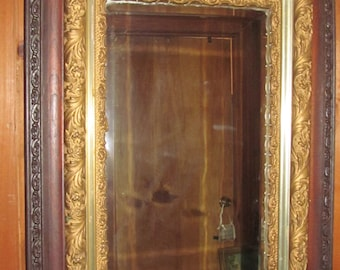 Antique Victorian Parlor Mirror Large Ornate Mirror Wood and Gold Gilt Mirror Beveled Glass Mirror Victorian House Decor
